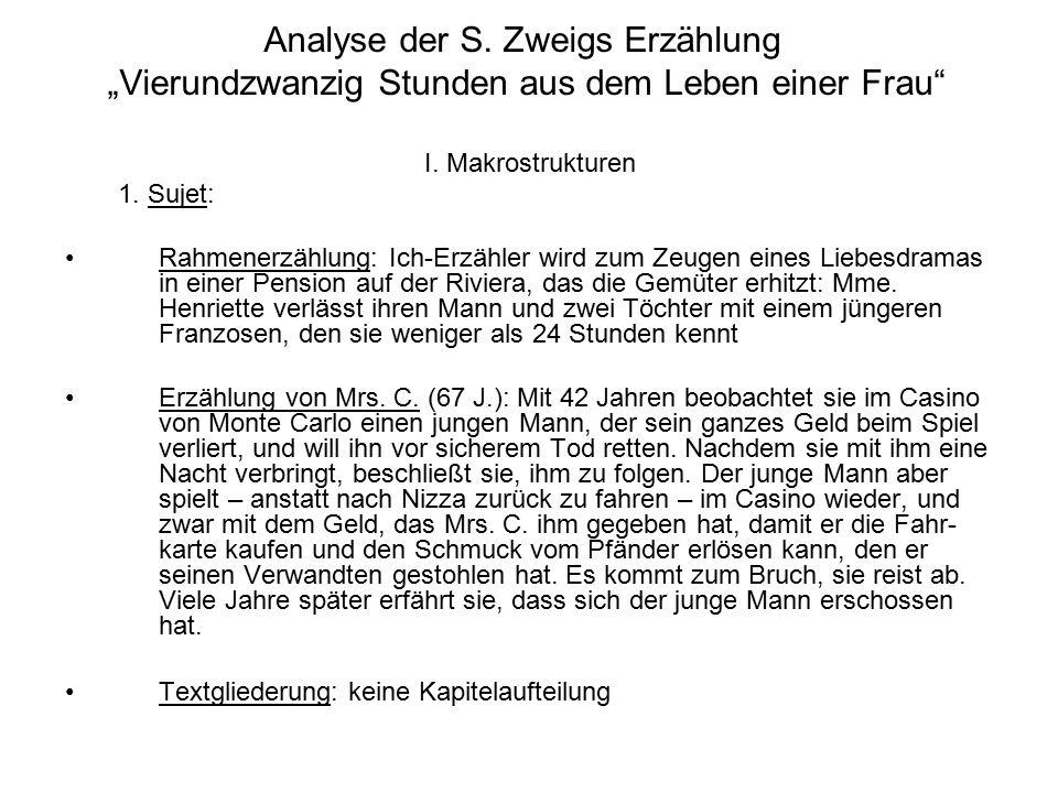 """Analyse der S. Zweigs Erzählung """"Vierundzwanzig Stunden aus dem Leben einer Frau"""