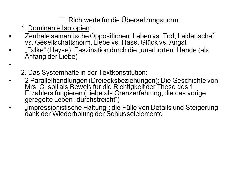 III. Richtwerte für die Übersetzungsnorm: