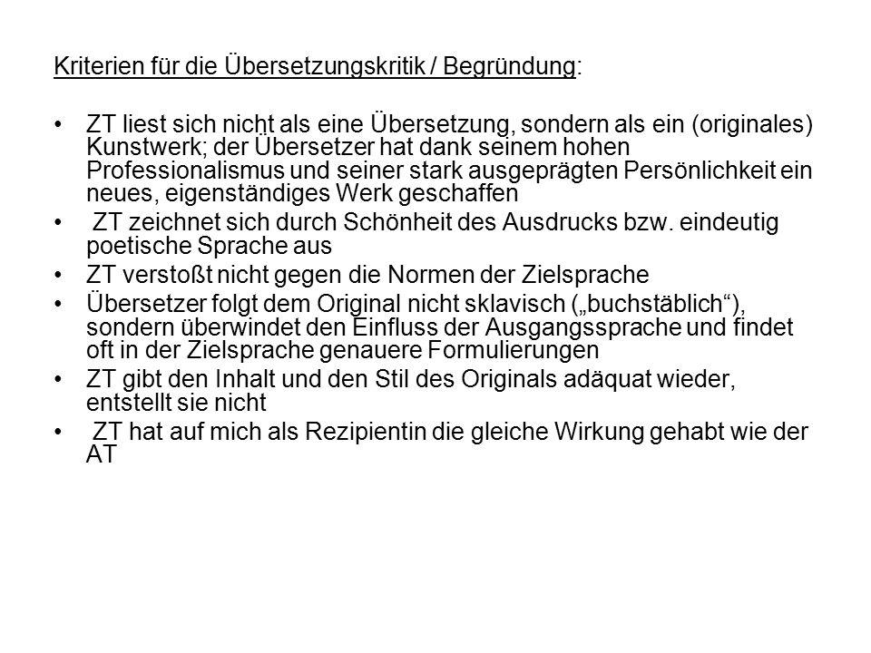 Kriterien für die Übersetzungskritik / Begründung: