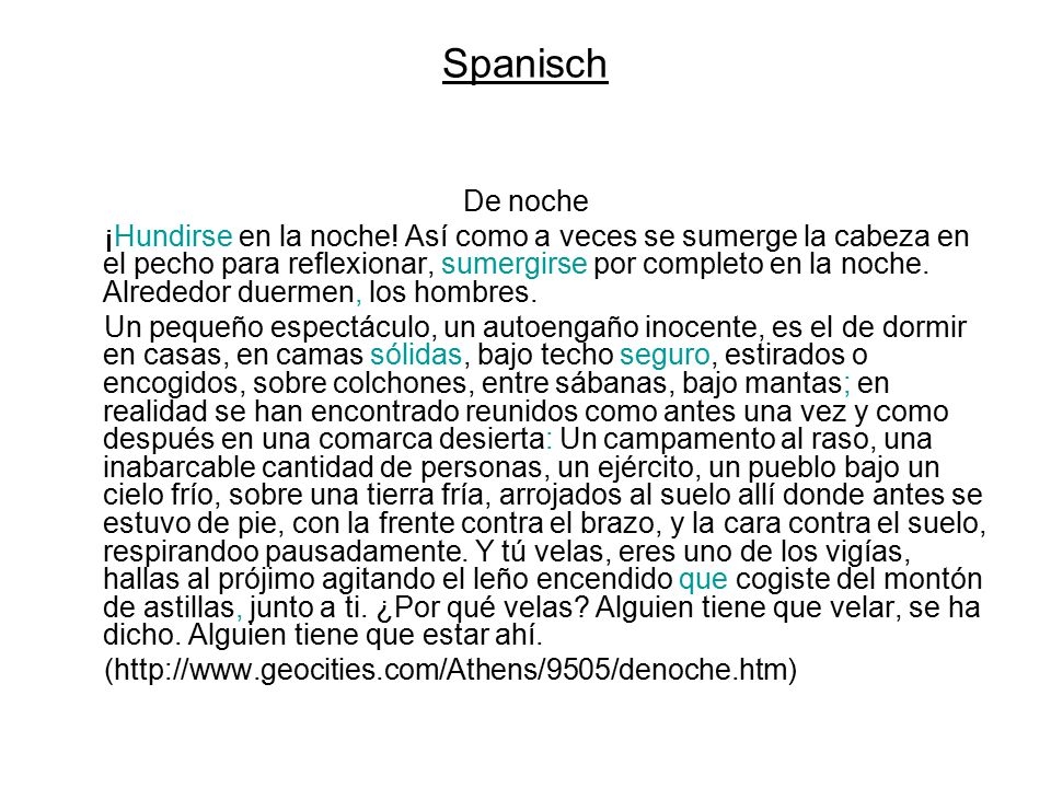 Spanisch De noche.