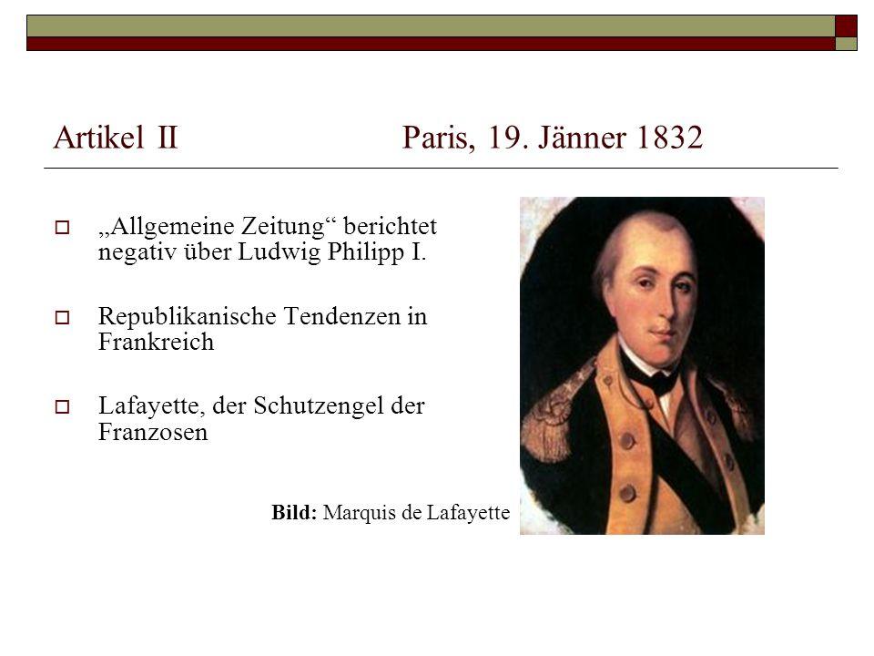 Artikel II Paris, 19. Jänner 1832