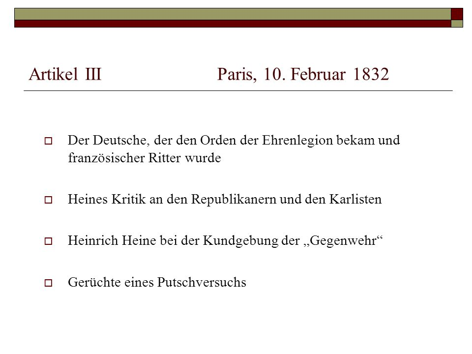 Artikel III Paris, 10. Februar 1832