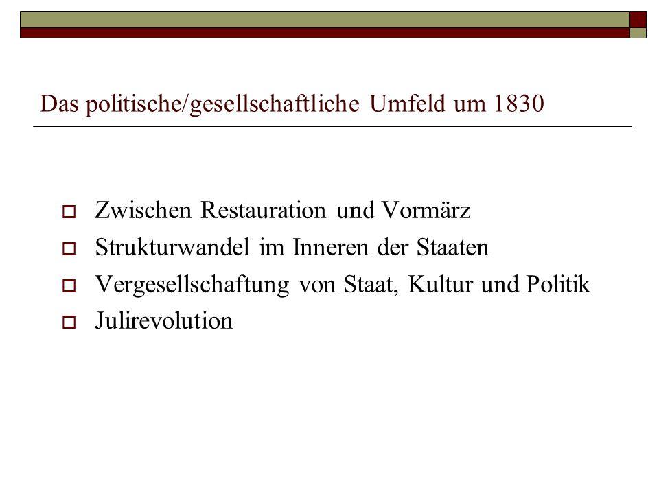 Das politische/gesellschaftliche Umfeld um 1830