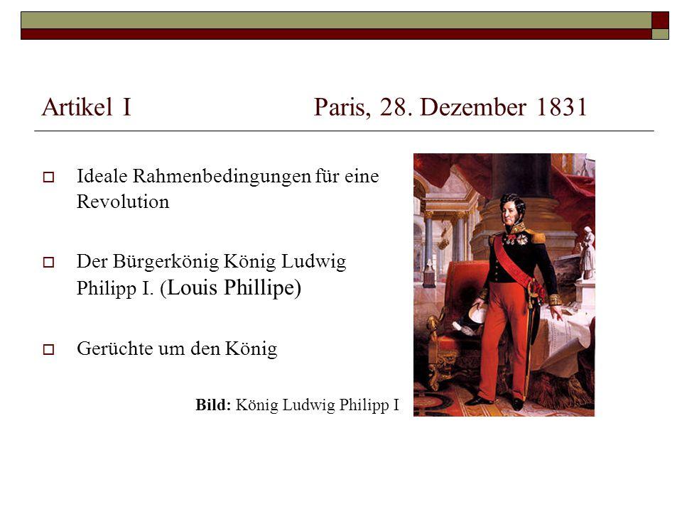Artikel I Paris, 28. Dezember 1831
