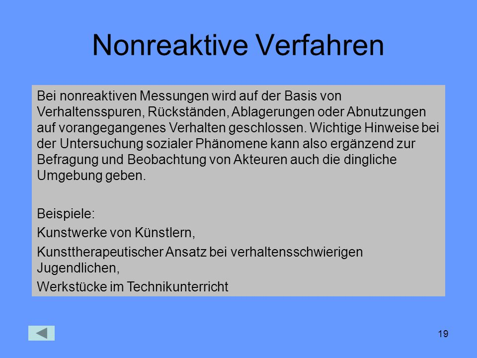 Nonreaktive Verfahren