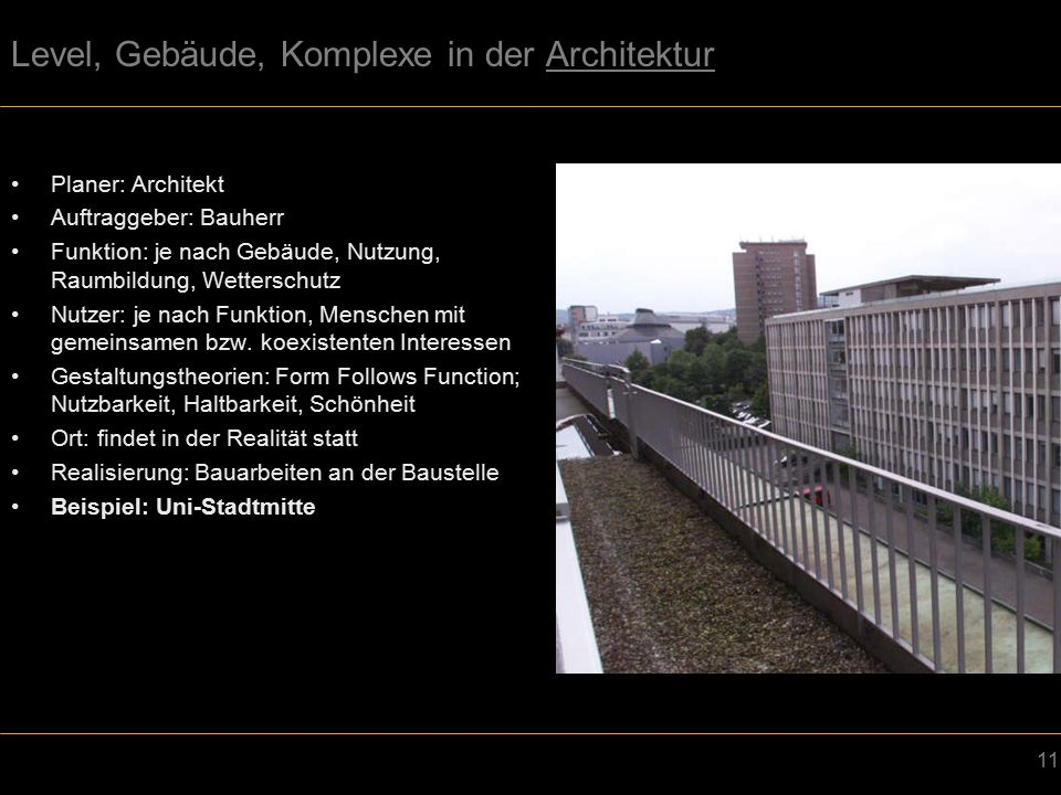 Level, Gebäude, Komplexe in der Architektur