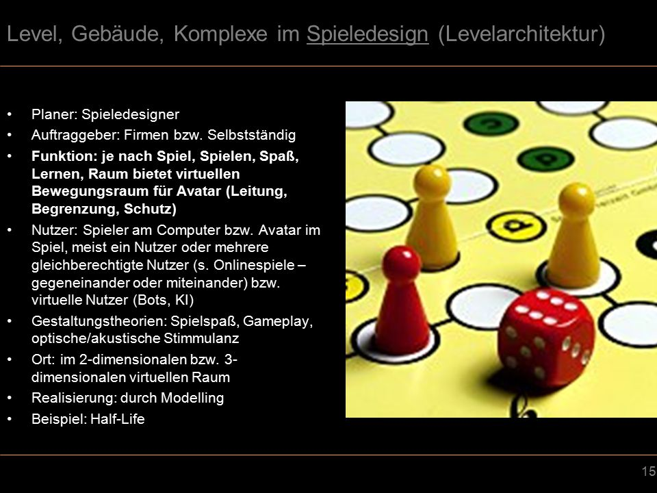 Level, Gebäude, Komplexe im Spieledesign (Levelarchitektur)