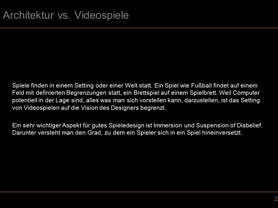 Architektur vs. Videospiele
