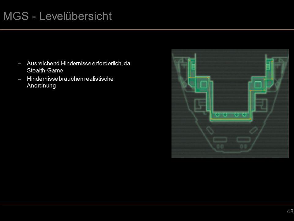 MGS - Levelübersicht Ausreichend Hindernisse erforderlich, da Stealth-Game.