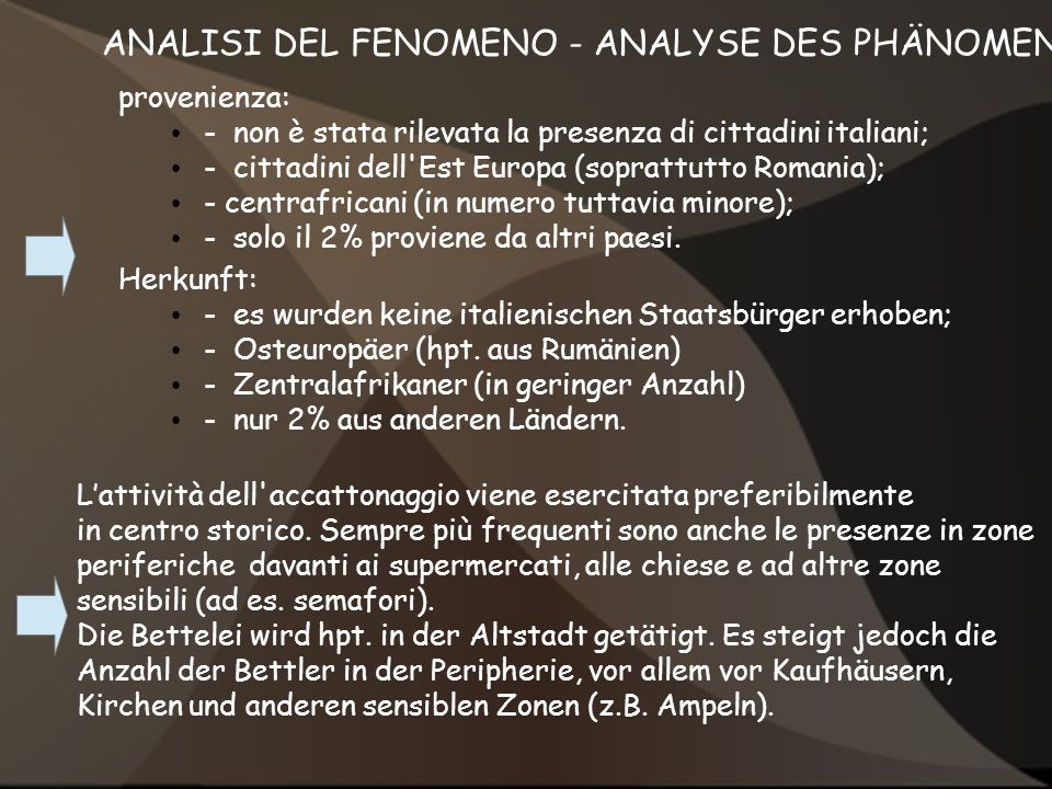ANALISI DEL FENOMENO - ANALYSE DES PHÄNOMENS