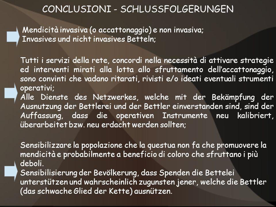 CONCLUSIONI - SCHLUSSFOLGERUNGEN