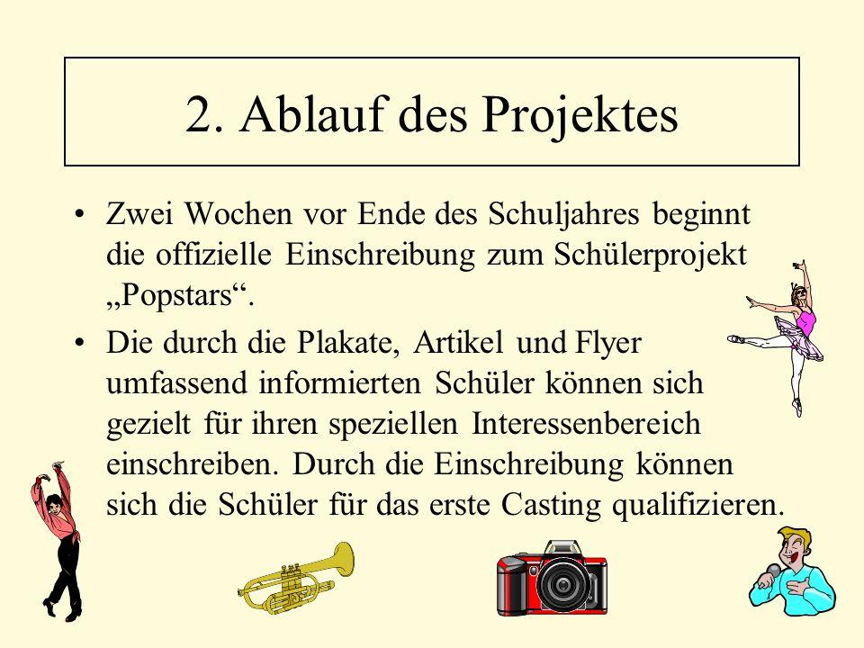 """2. Ablauf des Projektes Zwei Wochen vor Ende des Schuljahres beginnt die offizielle Einschreibung zum Schülerprojekt """"Popstars ."""
