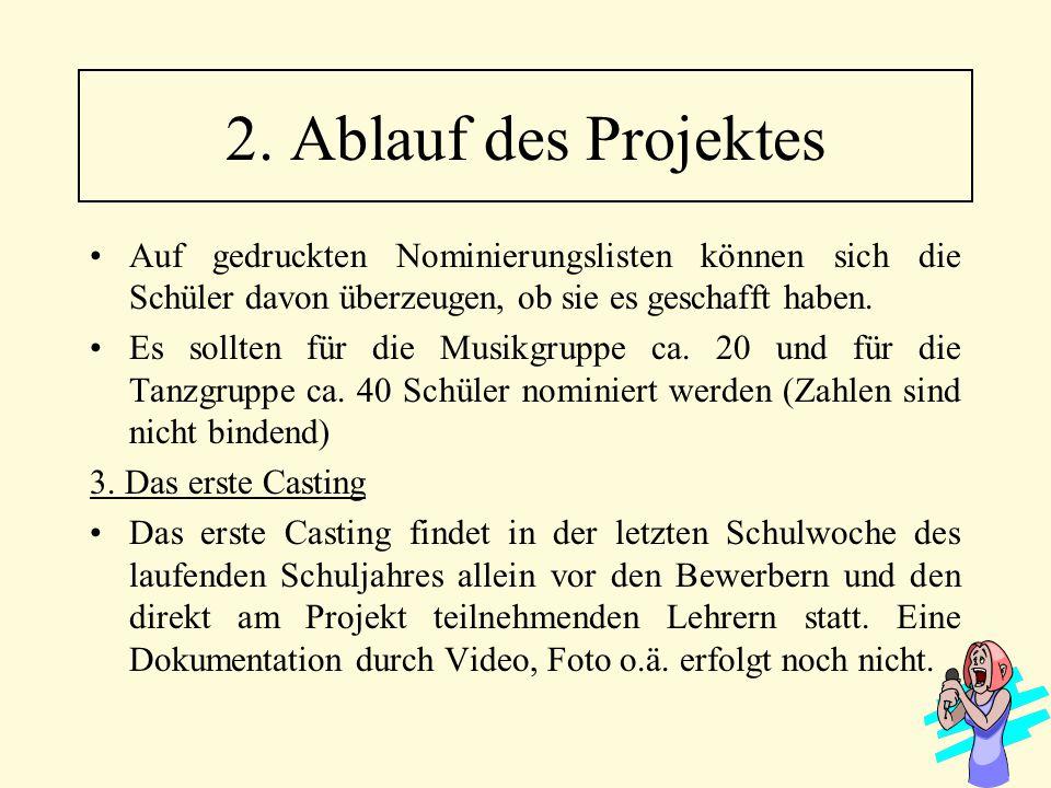 2. Ablauf des Projektes Auf gedruckten Nominierungslisten können sich die Schüler davon überzeugen, ob sie es geschafft haben.