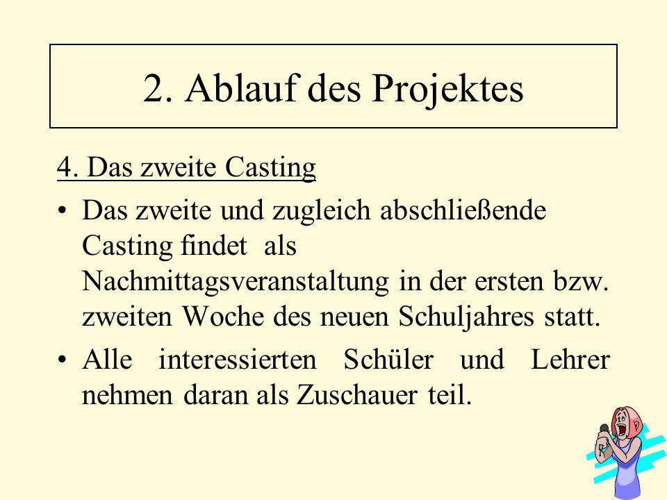 2. Ablauf des Projektes 4. Das zweite Casting