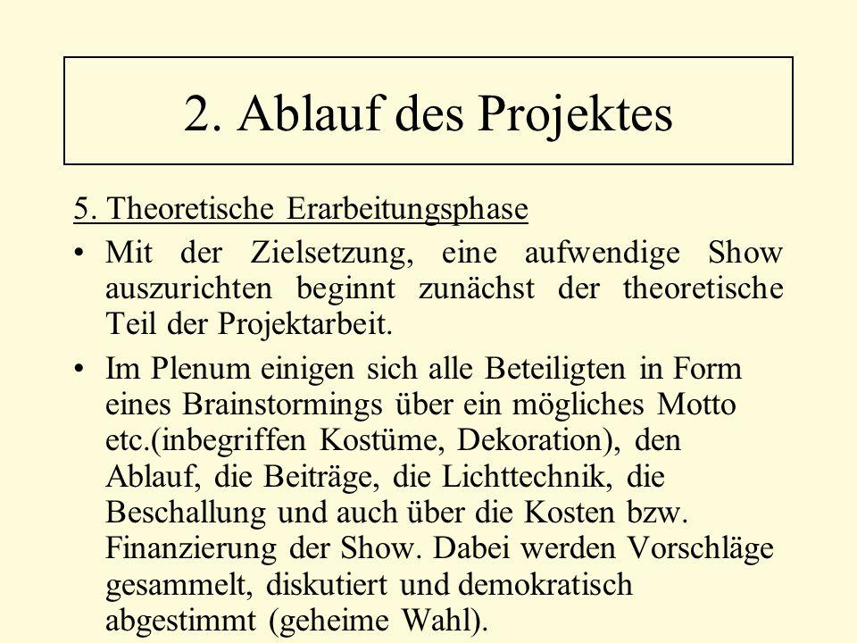2. Ablauf des Projektes 5. Theoretische Erarbeitungsphase