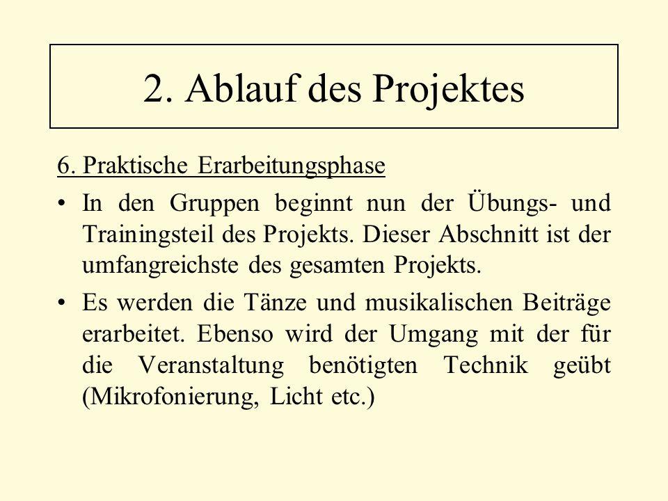 2. Ablauf des Projektes 6. Praktische Erarbeitungsphase