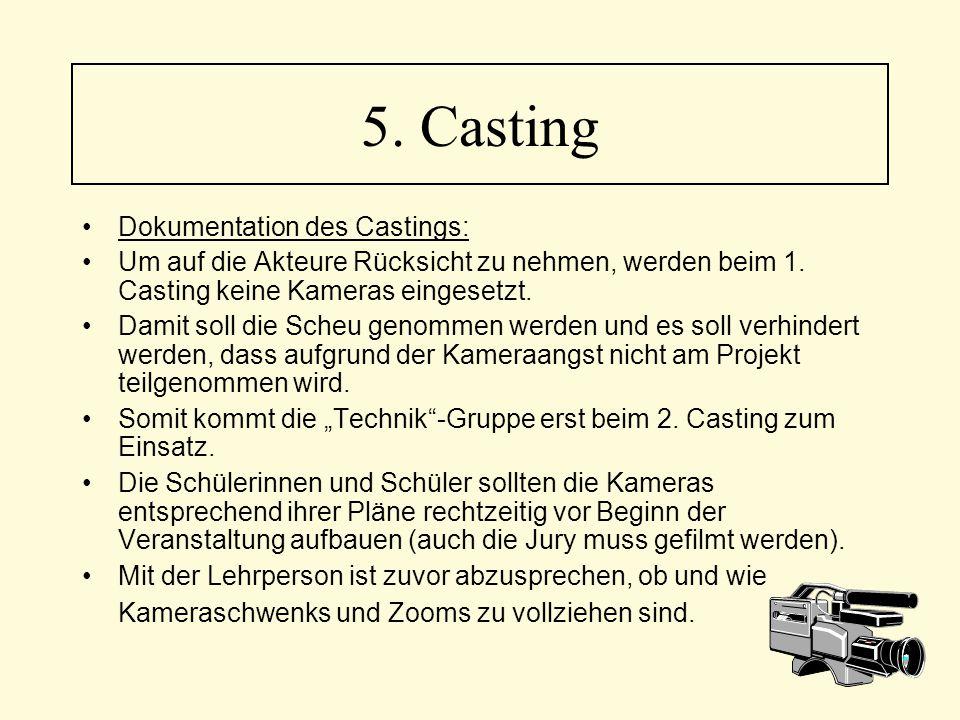 5. Casting Dokumentation des Castings: