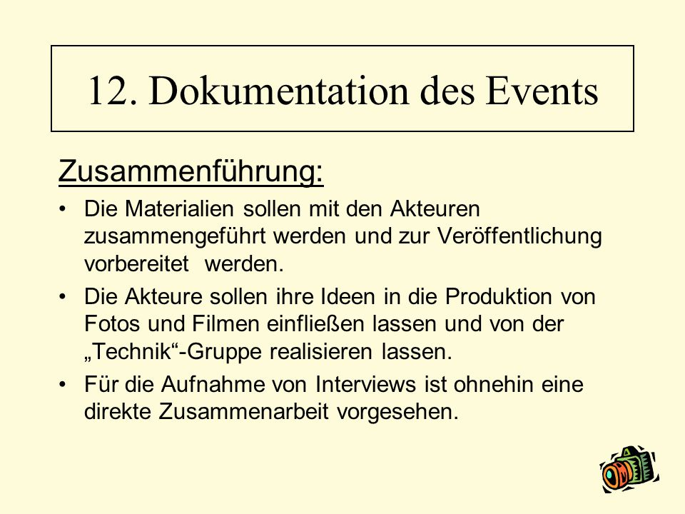 12. Dokumentation des Events