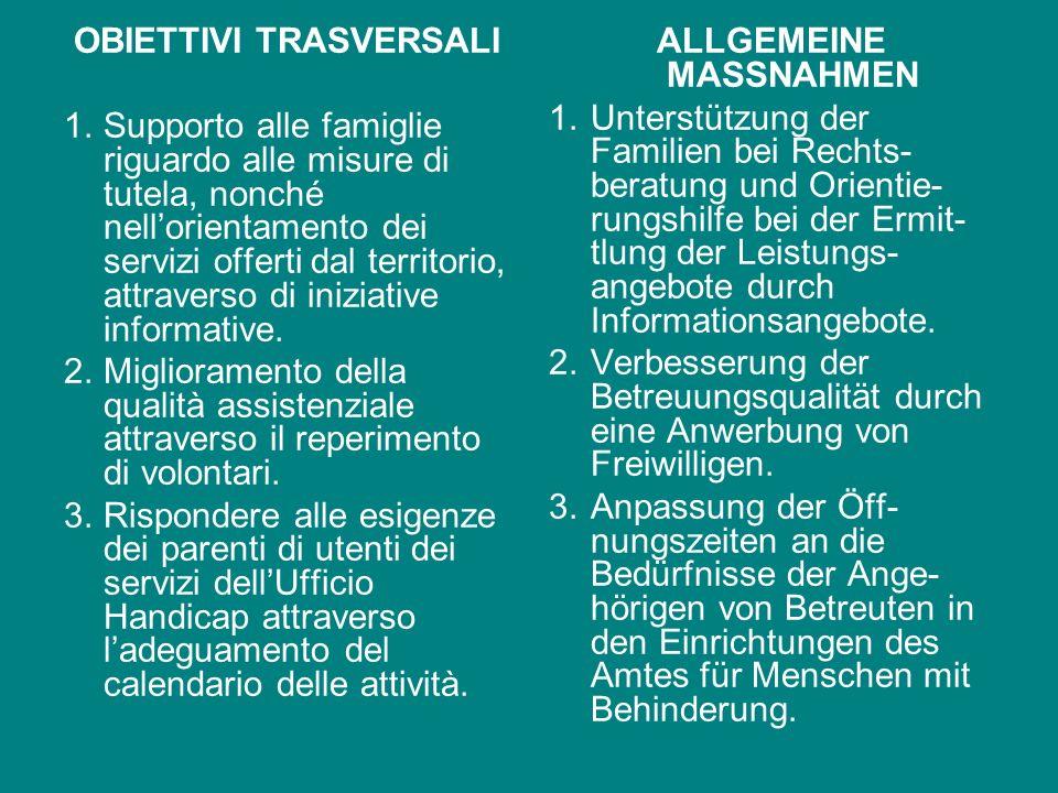 OBIETTIVI TRASVERSALI ALLGEMEINE MASSNAHMEN
