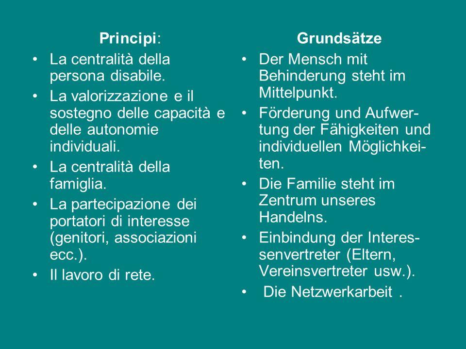 Principi: La centralità della persona disabile. La valorizzazione e il sostegno delle capacità e delle autonomie individuali.