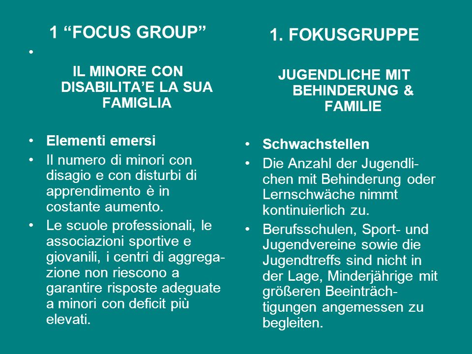 1 FOCUS GROUP 1. FOKUSGRUPPE