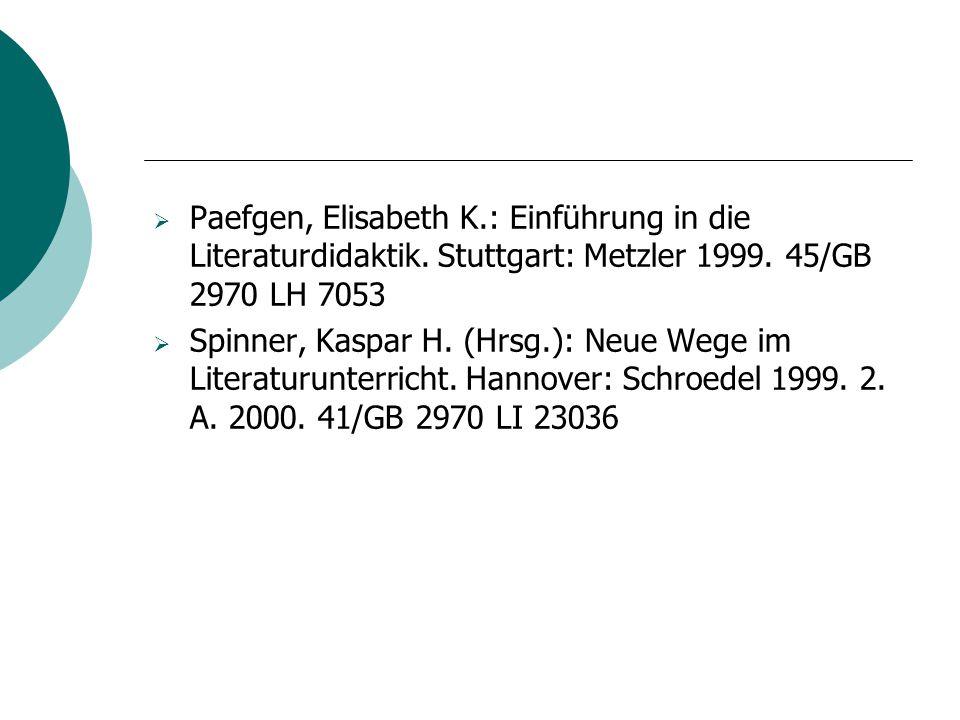 Paefgen, Elisabeth K. : Einführung in die Literaturdidaktik