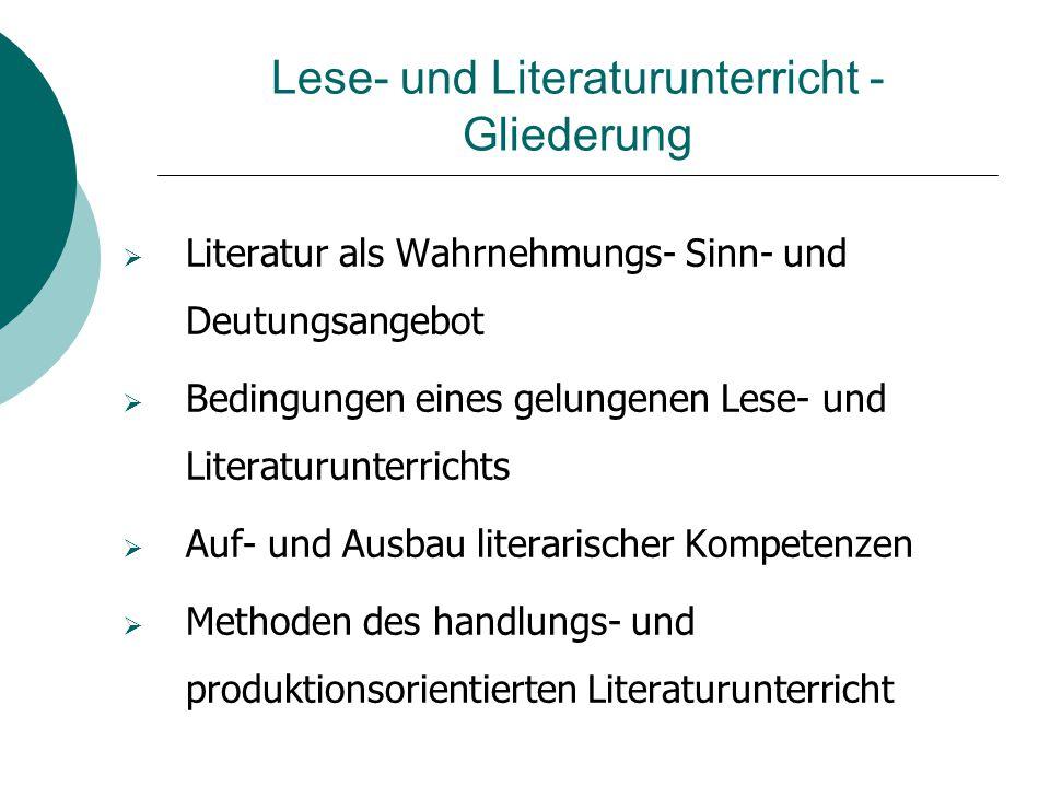 Lese- und Literaturunterricht - Gliederung