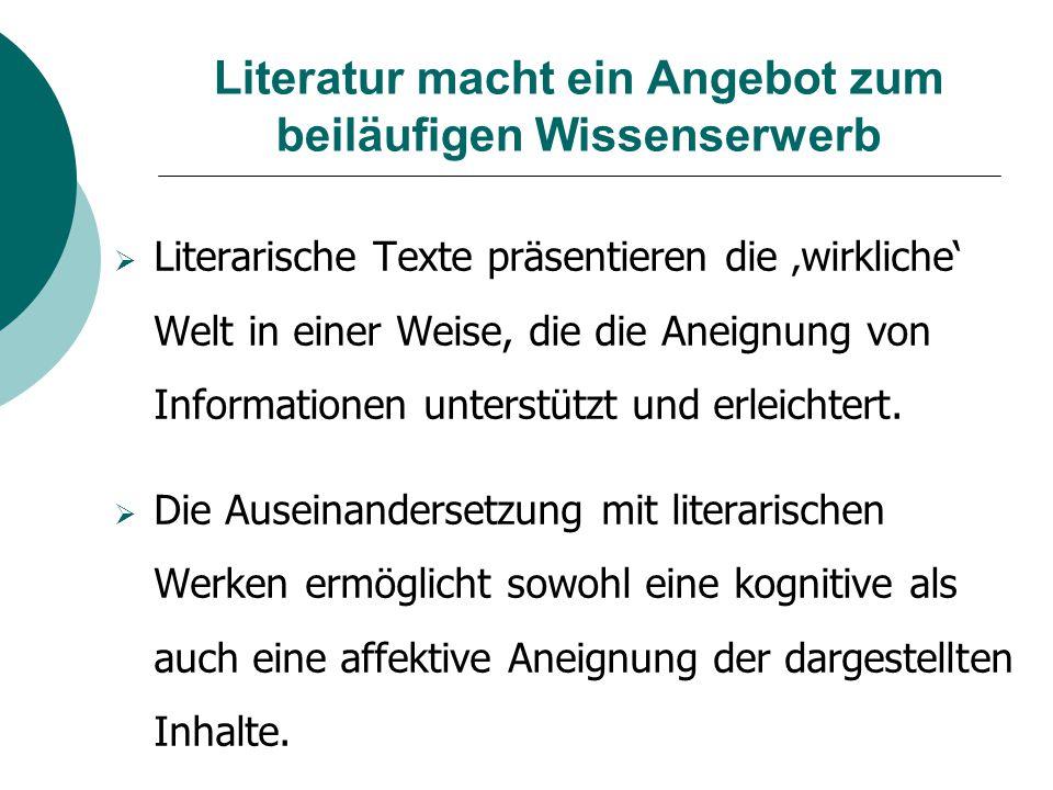 Literatur macht ein Angebot zum beiläufigen Wissenserwerb