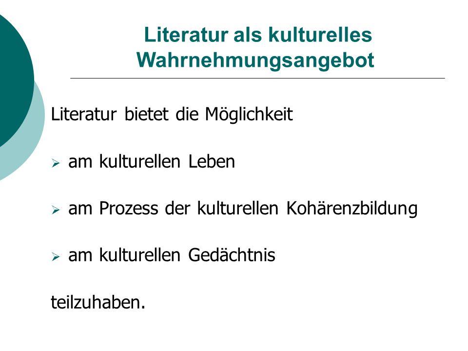 Literatur als kulturelles Wahrnehmungsangebot