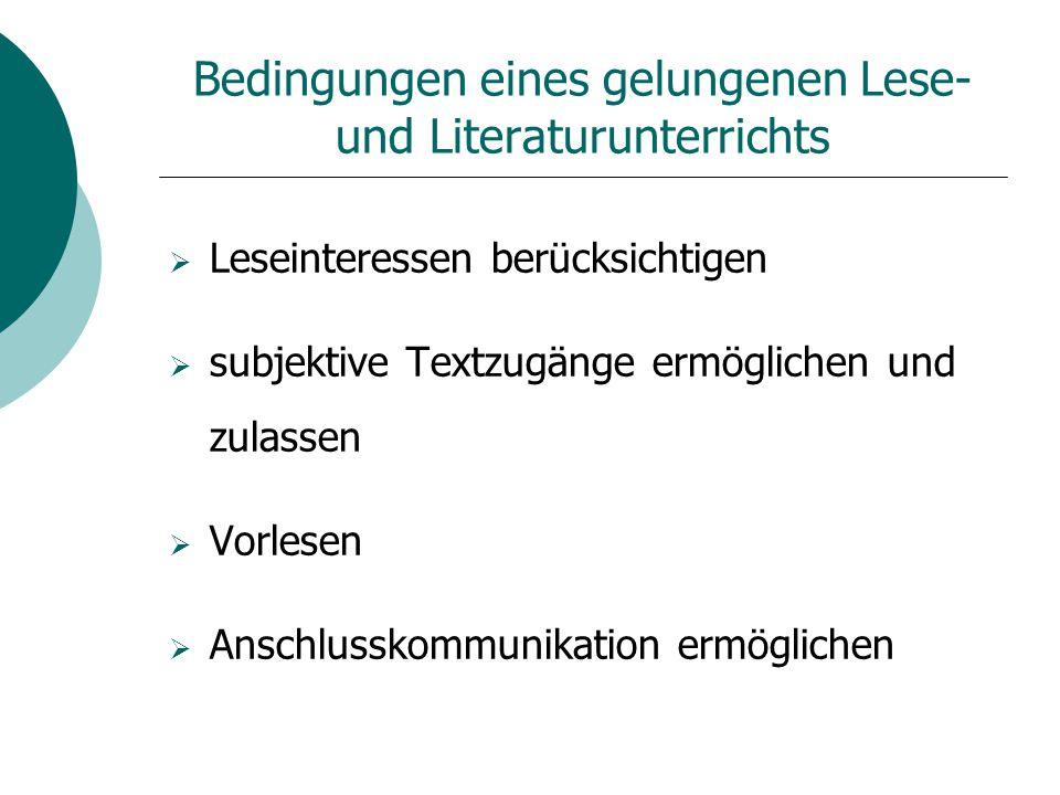 Bedingungen eines gelungenen Lese- und Literaturunterrichts