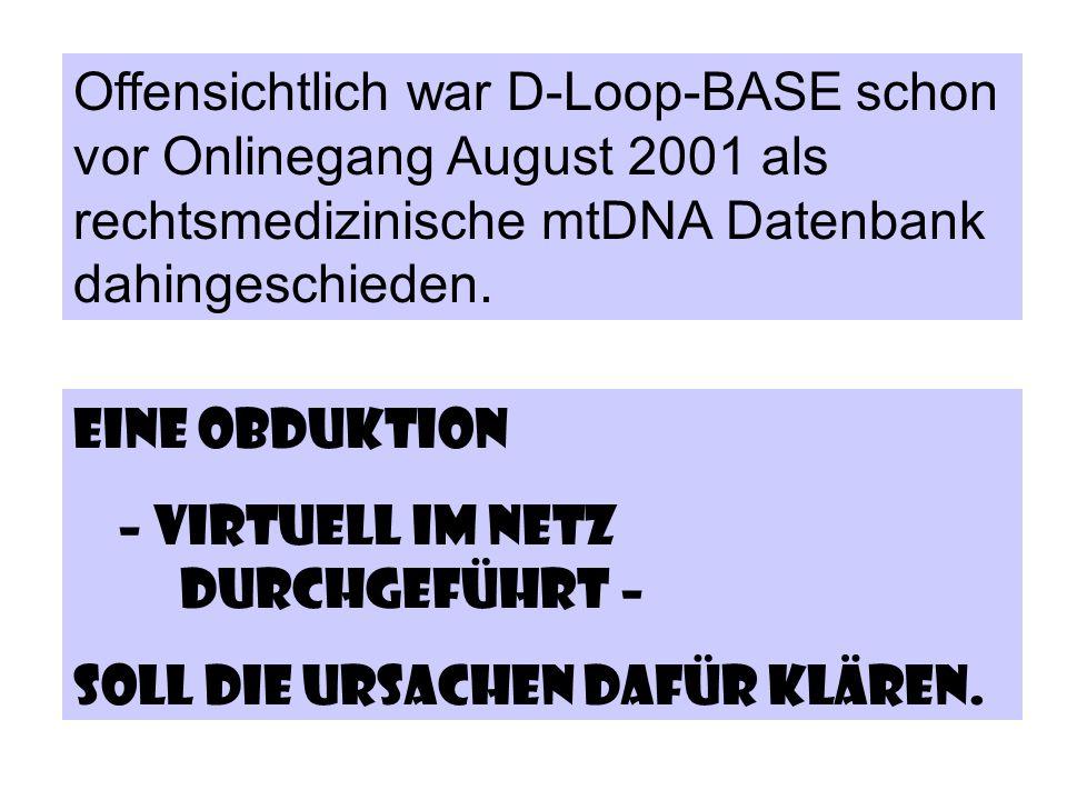 Offensichtlich war D-Loop-BASE schon vor Onlinegang August 2001 als rechtsmedizinische mtDNA Datenbank dahingeschieden.