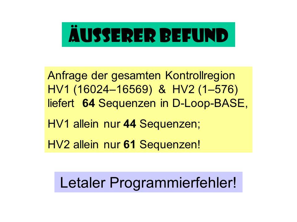 Äußerer Befund Anfrage der gesamten Kontrollregion HV1 (16024–16569) & HV2 (1–576) liefert 64 Sequenzen in D-Loop-BASE,