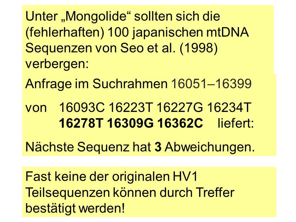 """Unter """"Mongolide sollten sich die (fehlerhaften) 100 japanischen mtDNA Sequenzen von Seo et al. (1998) verbergen:"""