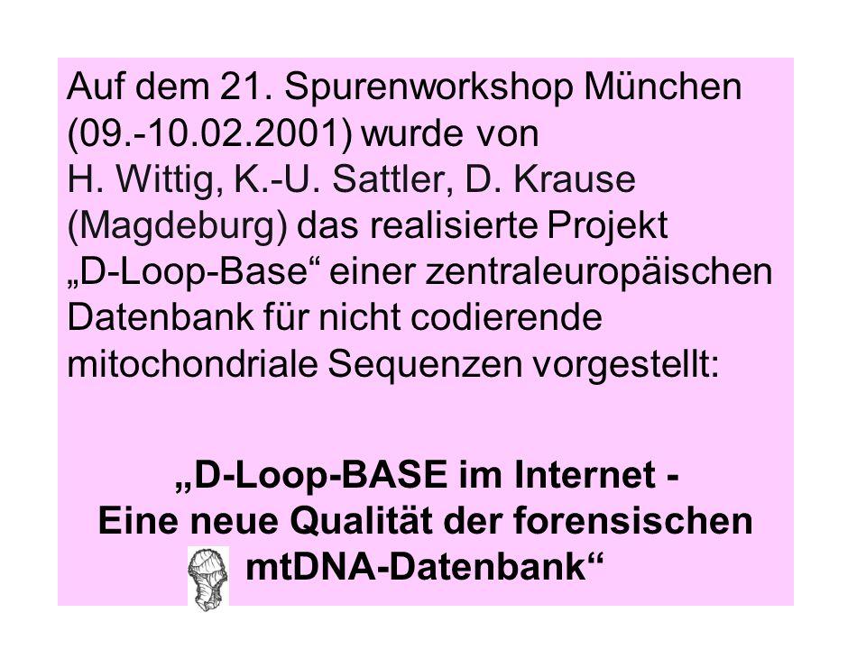 Auf dem 21. Spurenworkshop München (09. -10. 02. 2001) wurde von H