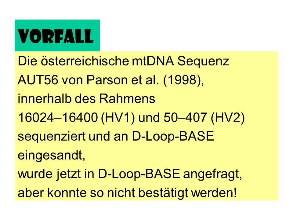 Vorfall Die österreichische mtDNA Sequenz