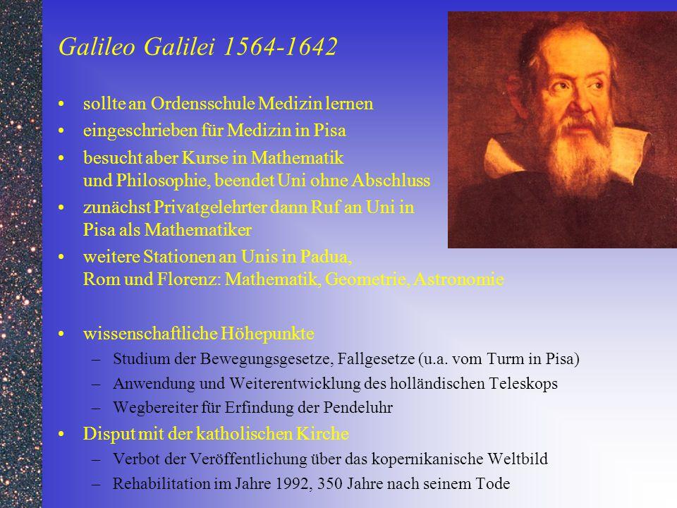 Galileo Galilei 1564-1642 sollte an Ordensschule Medizin lernen