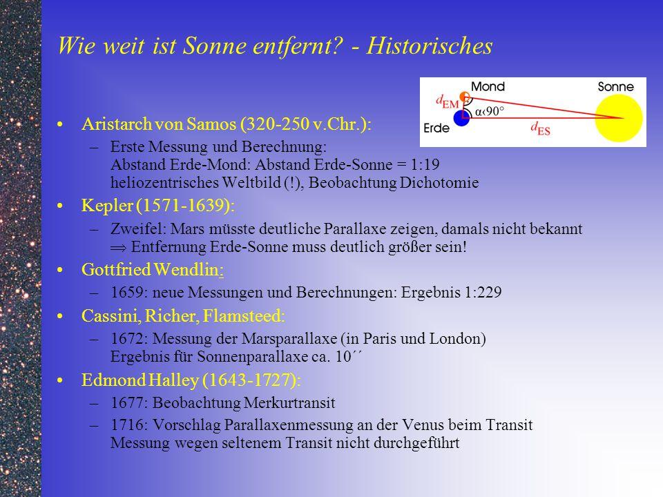 Wie weit ist Sonne entfernt - Historisches
