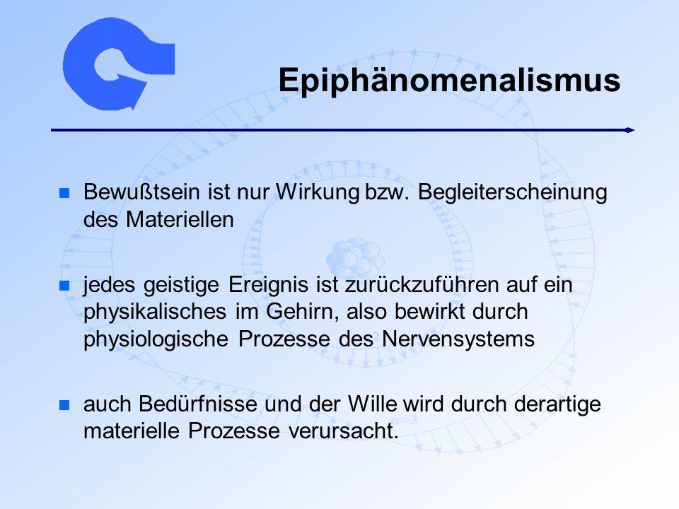 Epiphänomenalismus Bewußtsein ist nur Wirkung bzw. Begleiterscheinung des Materiellen.