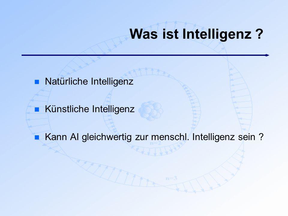 Was ist Intelligenz Natürliche Intelligenz Künstliche Intelligenz