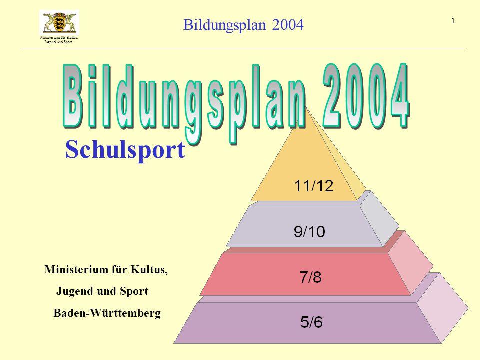 Schulsport Bildungsplan 2004 Ministerium für Kultus, Jugend und Sport