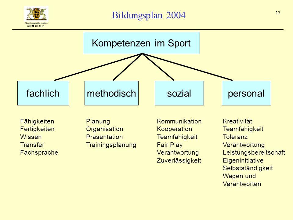 Kompetenzen im Sport fachlich methodisch sozial personal Fähigkeiten