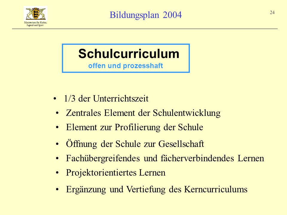 Schulcurriculum 1/3 der Unterrichtszeit