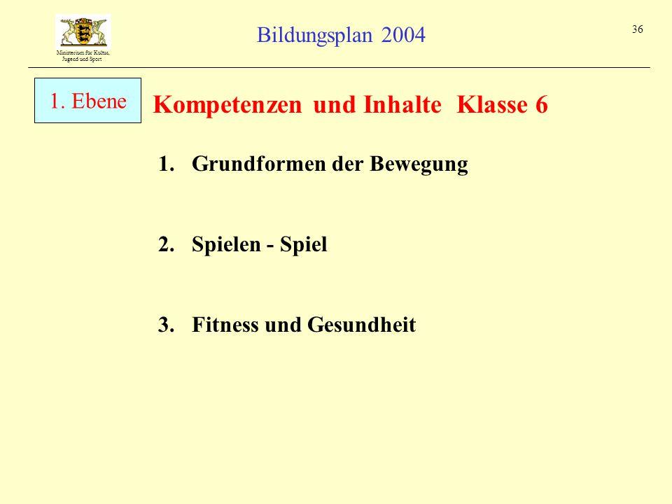 Kompetenzen und Inhalte Klasse 6