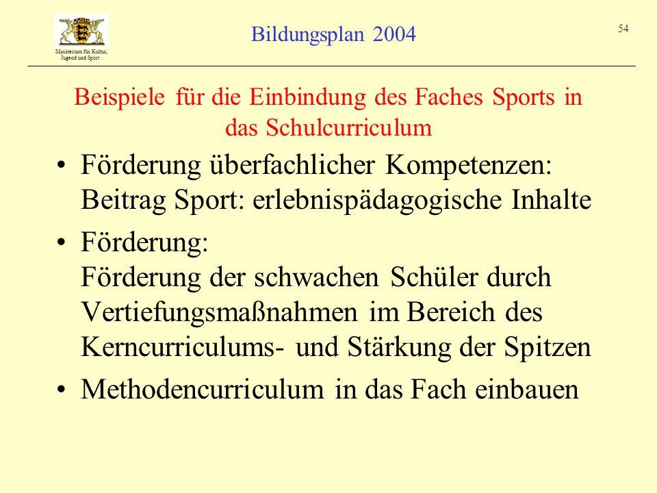Beispiele für die Einbindung des Faches Sports in das Schulcurriculum