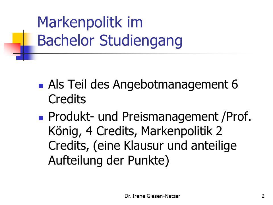 Markenpolitk im Bachelor Studiengang