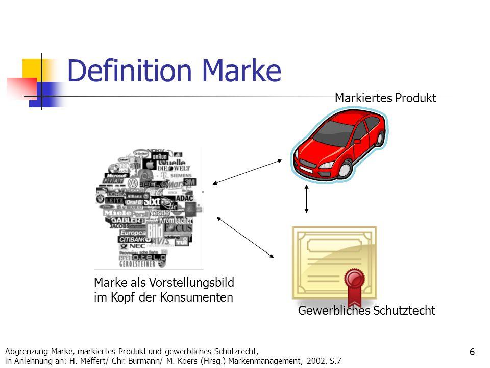 Definition Marke Markiertes Produkt Marke als Vorstellungsbild