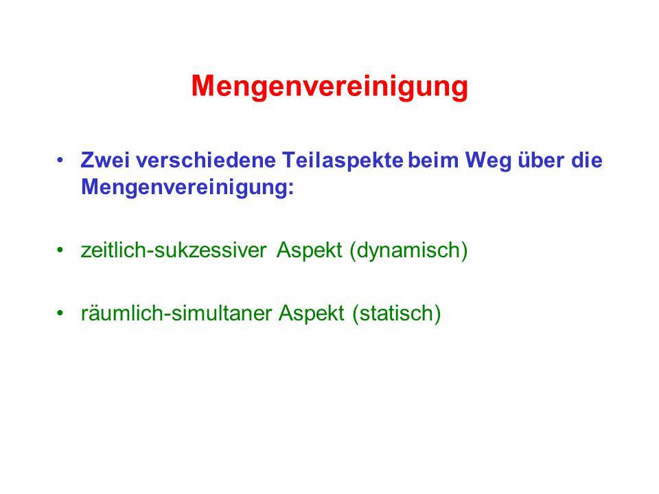 Mengenvereinigung Zwei verschiedene Teilaspekte beim Weg über die Mengenvereinigung: zeitlich-sukzessiver Aspekt (dynamisch)