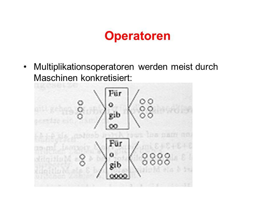 Operatoren Multiplikationsoperatoren werden meist durch Maschinen konkretisiert: