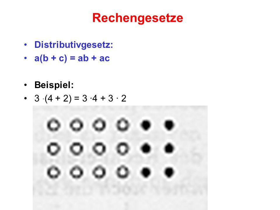 Rechengesetze Distributivgesetz: a(b + c) = ab + ac Beispiel: