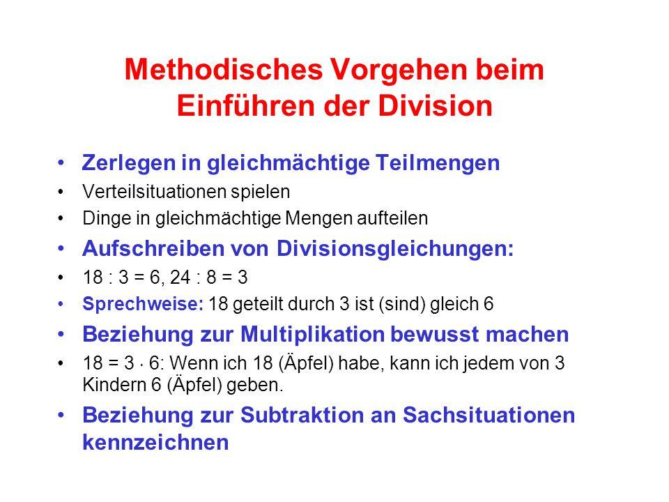 Methodisches Vorgehen beim Einführen der Division